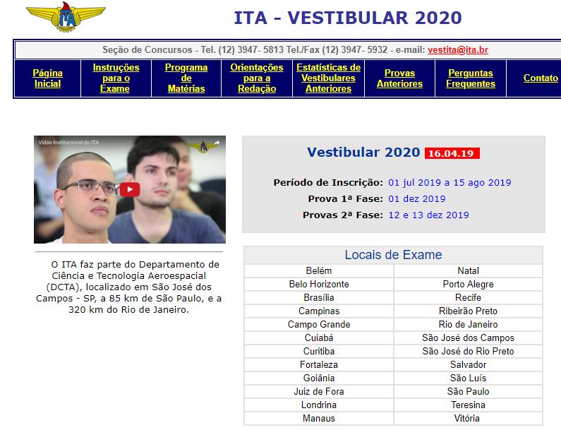 Inscrições vestibular ITA 2020