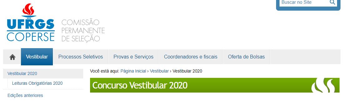Inscrições vestibular UFRGS 2020