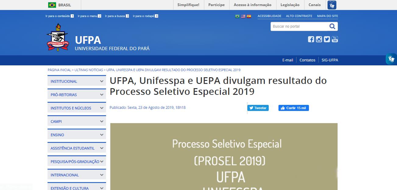Site Oficial da Universidade Federal do Pará