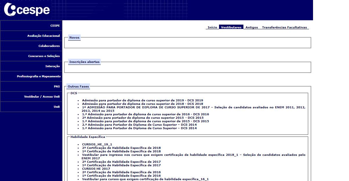 Portal Oficial Vestibular UNB